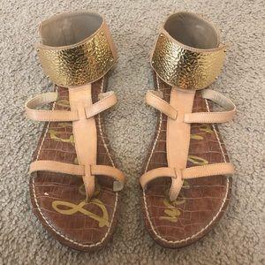 Sam Edelman Shoes - Sam Edelman Genette Tan Gold Ankle Cuff Sandals